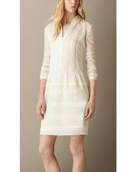 Burberry Pintuck Detail Silk Shirt Dress - Lyst