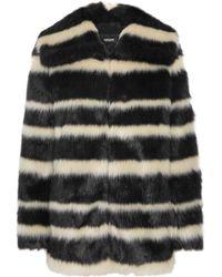 DKNY Striped Faux Fur Coat - Lyst