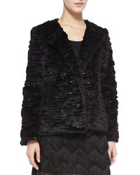 Milly Short Faux Fur Metallic Jacket - Lyst