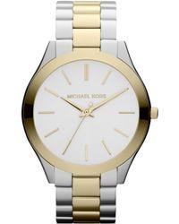 Michael Kors Women'S Slim Runway Two-Tone Stainless Steel Bracelet Watch 42Mm Mk3198 - Lyst