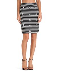 Joa Embellished Striped Skirt - Lyst