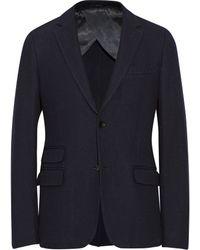 Gucci Navy Woven Cotton-Blend Blazer - Lyst