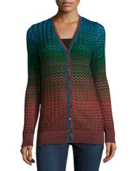 M Missoni Zigzag Long V-Neck Cardigan - Lyst