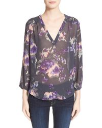 Joie 'axcel' Floral Print Silk Blouse - Lyst