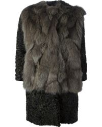 MSGM Fur Paneled Coat - Lyst