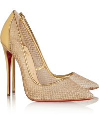 Christian Louboutin Follies Resille 120 Metallic Leather and Fishnet Pumps - Lyst