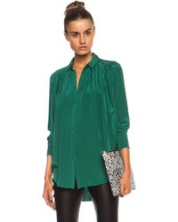 Kenzo Draped Crepe De Chine Button Front Blouse - Lyst
