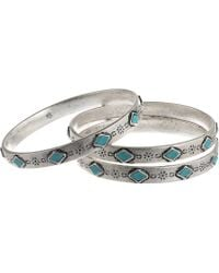 Lauren by Ralph Lauren Bar Harbor 3 Set Etched Metal and Turquoise Cabs Bangles - Lyst