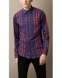 Burberry Graphic Check Stretch Cottonblend Shirt - Lyst