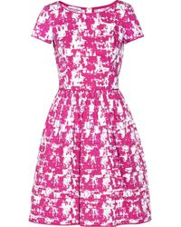 Oscar de la Renta Printed Stretch Cotton Dress - Lyst