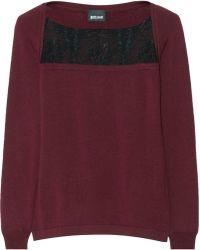Just Cavalli Lacepaneled Wool Sweater - Lyst
