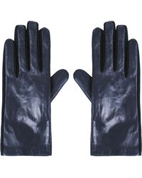 Topshop Womens Leather Ponte Gloves - Navy Blue - Lyst