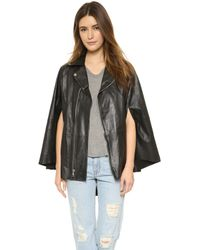 Rta Harley Leather Cape - Black - Lyst