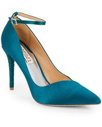 Badgley Mischka Livia Satin Ankle Strap Point Toe Pumps blue - Lyst