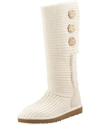 Ugg Classic Cardy Crochet Shearling Boot - Lyst