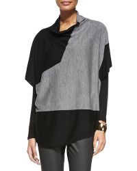 Eileen Fisher Draped-neck Merino Colorblock Poncho - Lyst