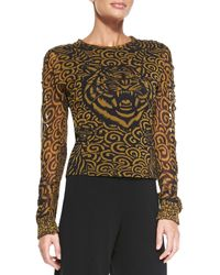 Jean Paul Gaultier Tiger-print Tulle Top - Lyst