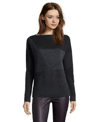 Vince Grey And Black Wool Jacquard Knit Boatneck Sweater - Lyst