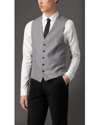 Burberry Modern Fit Wool And Satin Panel Waistcoat - Lyst