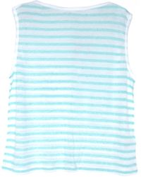 T By Alexander Wang Seafoam and White Stripe Linen Boatneck Tee - Lyst
