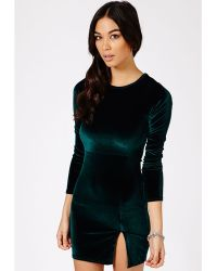 Missguided Gretina Velvet Split Mini Dress In Deep Green - Lyst