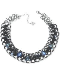 Guess Hematite-tone Crystal Woven Chain Necklace - Lyst
