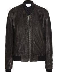 Helmut Lang Leather Bomber Jacket - Lyst
