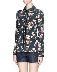 Tory Burch Winsor Floral Crepe Jersey Blouse - Lyst