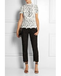 Erdem Gianna Embroidered Lace and Silkblend Crepe Tapered Pants - Lyst
