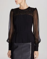 Karen Millen Graphic Lace Embroidered Top - Lyst