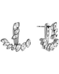 Vince Camuto - Silvertone And Glitz Arc Earrings - Lyst