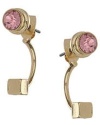 Topshop Rhinestone Front And Back Earrings pink - Lyst