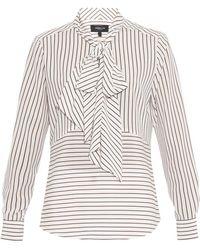 Derek Lam Striped Silk Pussy-Bow Shirt - Lyst