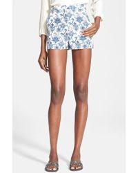 Tamara Mellon Print High Waisted Silk Georgette Shorts - Lyst