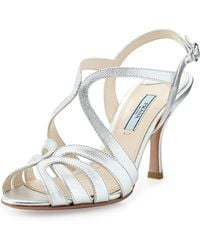 Prada Looped Metallic Saffiano Leather Mid-heel Sandal - Lyst
