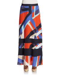 Adrienne Vittadini - Geo-print Crepe Chiffon Maxi Skirt - Lyst