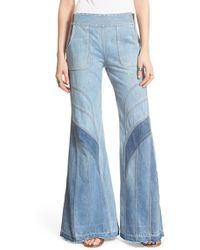 Free People | 'tidal Wave' Contrast Flare Jeans | Lyst