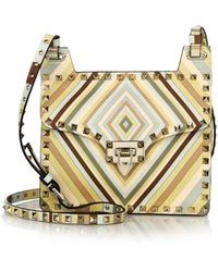 Valentino | Rockstud Multicolor Chevron-print Leather Shoulder Bag | Lyst