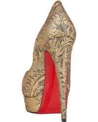 Christian Louboutin Lady Peep Brocade Red Sole Pump - Lyst