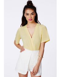 Missguided Jeanice Yellow Wrap Over Bodysuit - Lyst