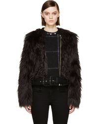 Band Of Outsiders Black Fur and Wool Biker Jacket - Lyst