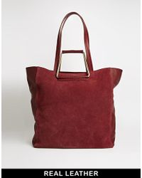 Asos Leather  Suede Shopper Bag with Metal Handles - Lyst