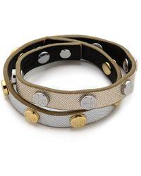Tory Burch Double Wrap Logo Stud Bracelet - Black/Shiny Gold/Tory Silver - Lyst