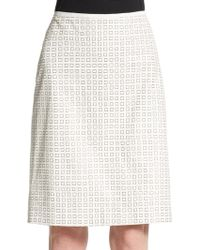 Reed Krakoff Square-Print Leather Pencil Skirt - Lyst