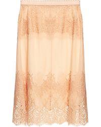 Dolce & Gabbana Lace Paneled Chiffon Slip - Lyst