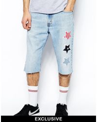 Reclaimed (vintage) Denim Shorts With American Stars - Lyst