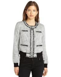 Rachel Zoe Black and White Knit Tweed Fitted Renata Jacket - Lyst