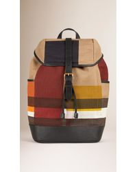 Burberry | Colour Block Canvas Check Backpack | Lyst