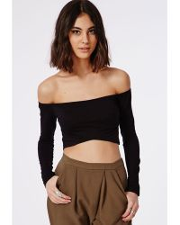 Missguided Long Sleeve Bardot Crop Top Black - Lyst