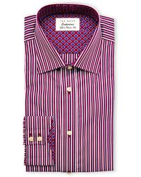 Ted Baker Plum Sterling Stripe Classic Fit Dress Shirt - Lyst